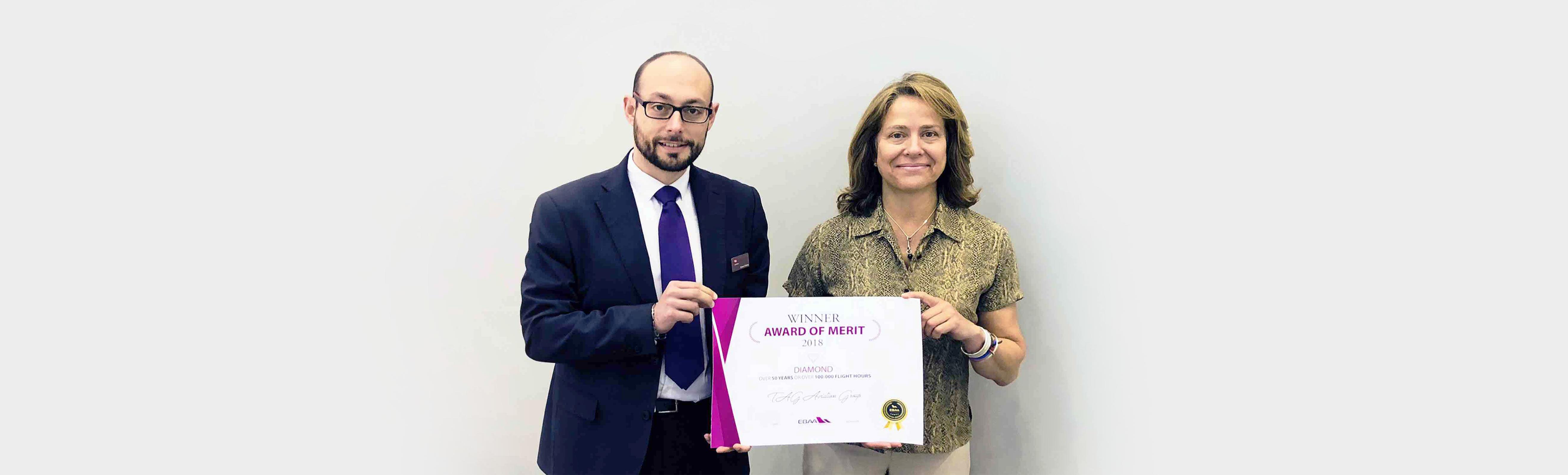 TAG航空在2018EBACE獲得EBAA頒發的安全飛行鑽石獎